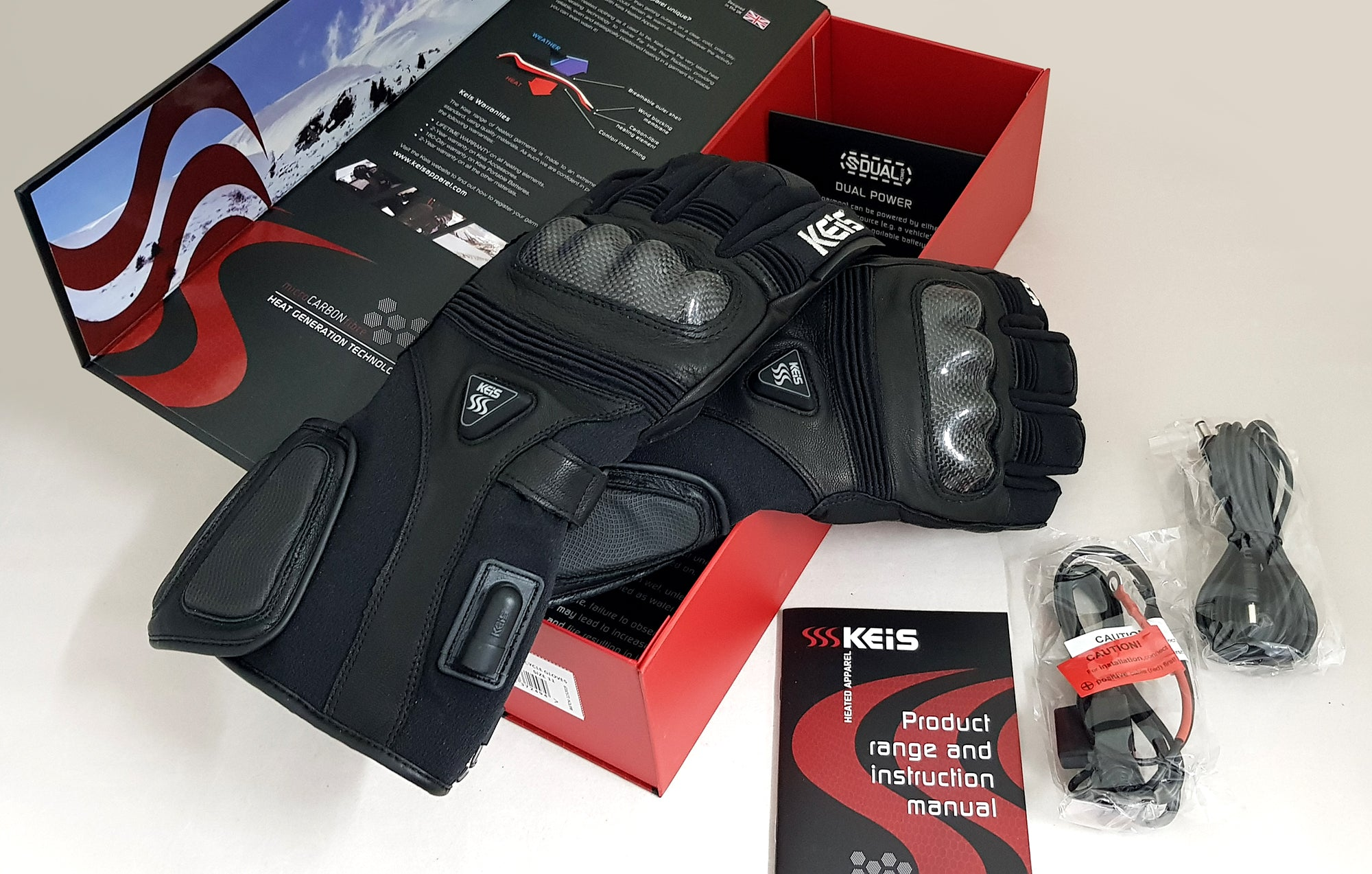 Box of G502 heated motorcycle gloves