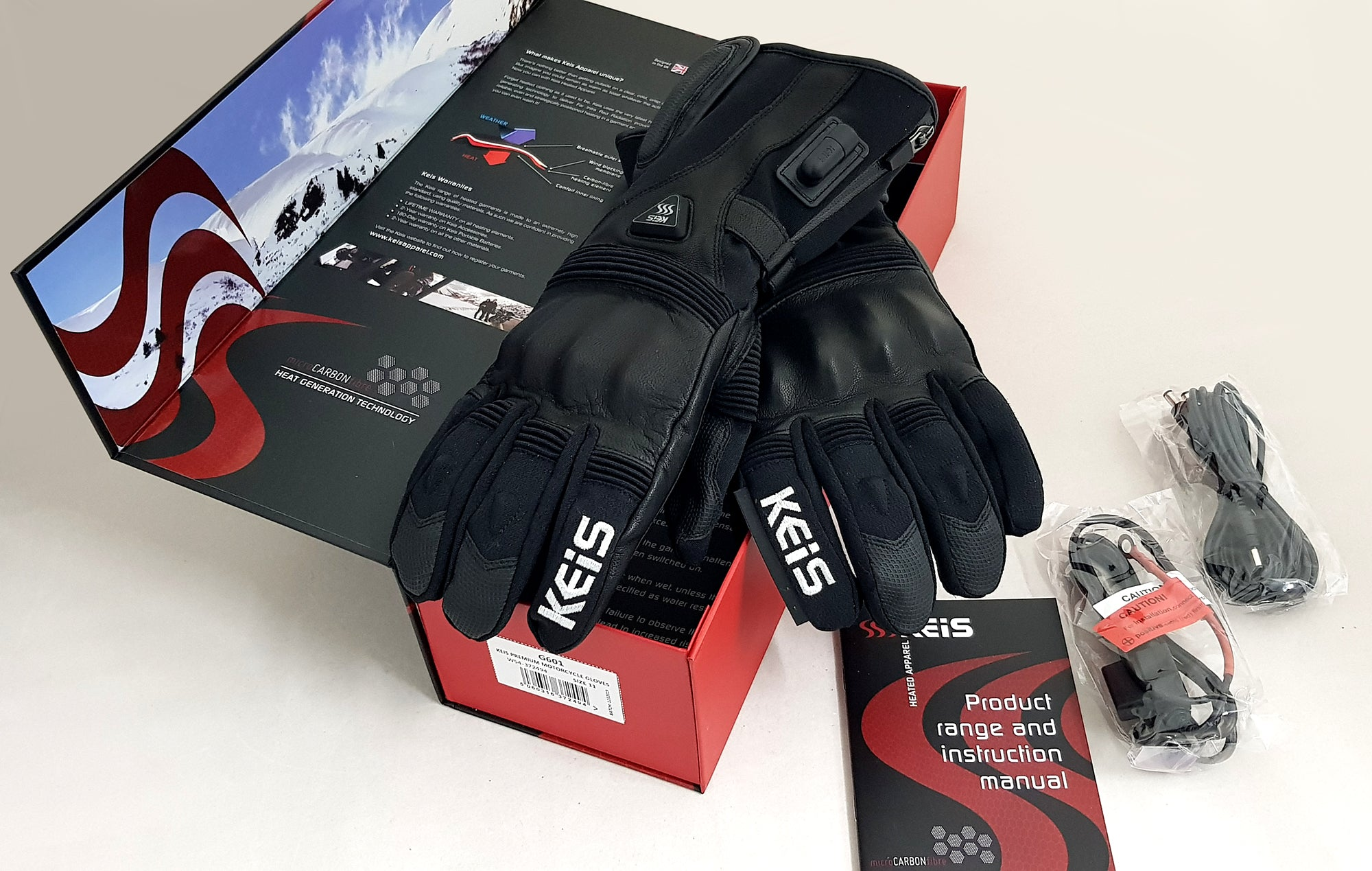 Box content for the G601 Keis Heated Motorcycle Gloves