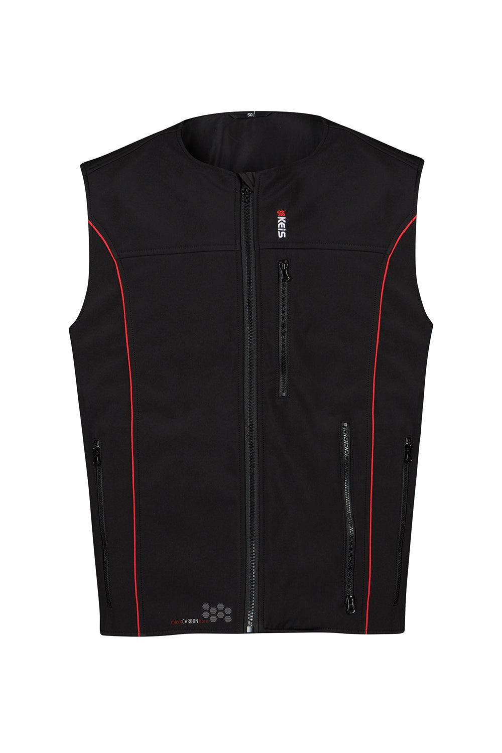 Keis heated vest baclk with red piping down front