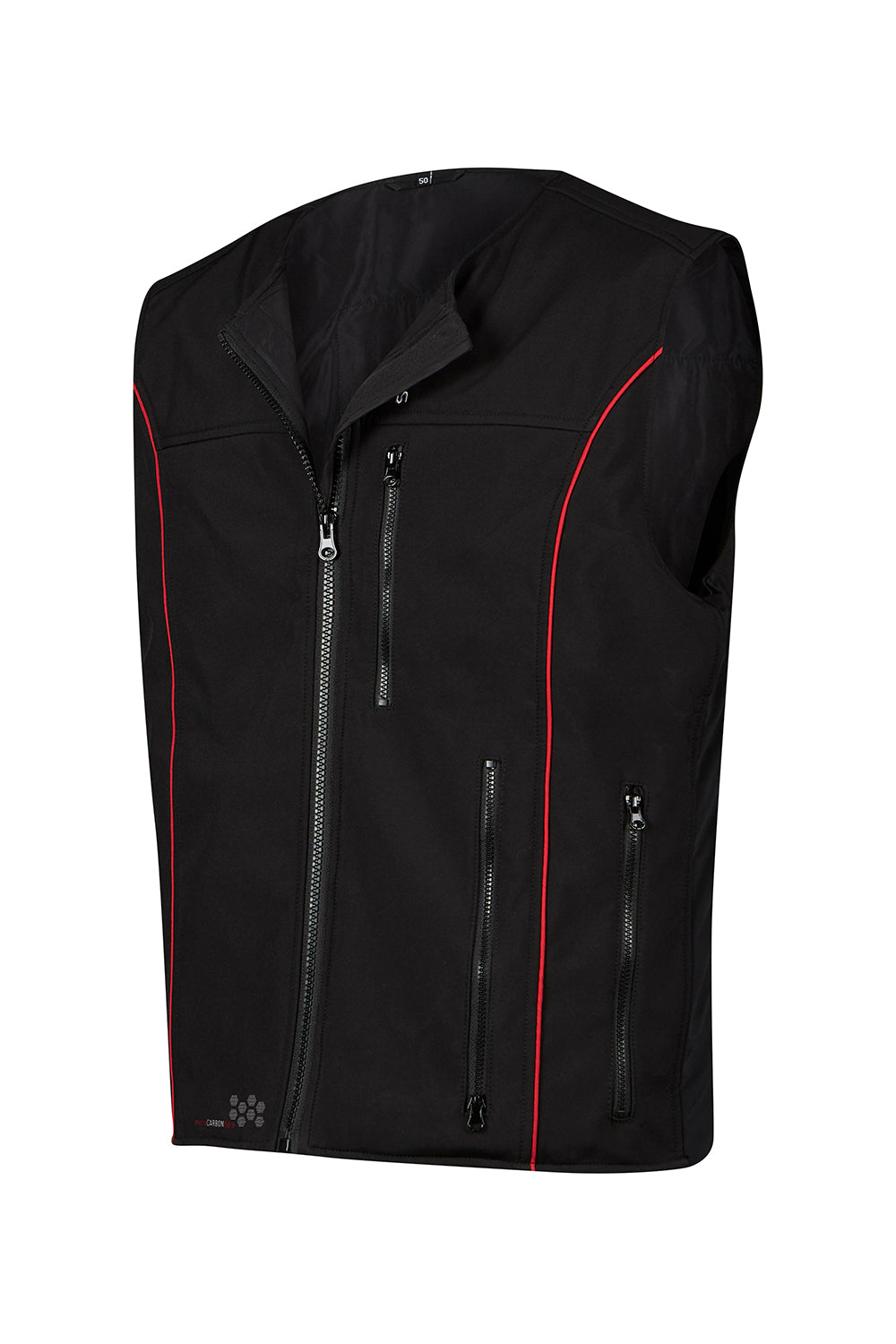 Keis heated vest bacl with red piping