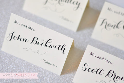 White Tent Escort Cards