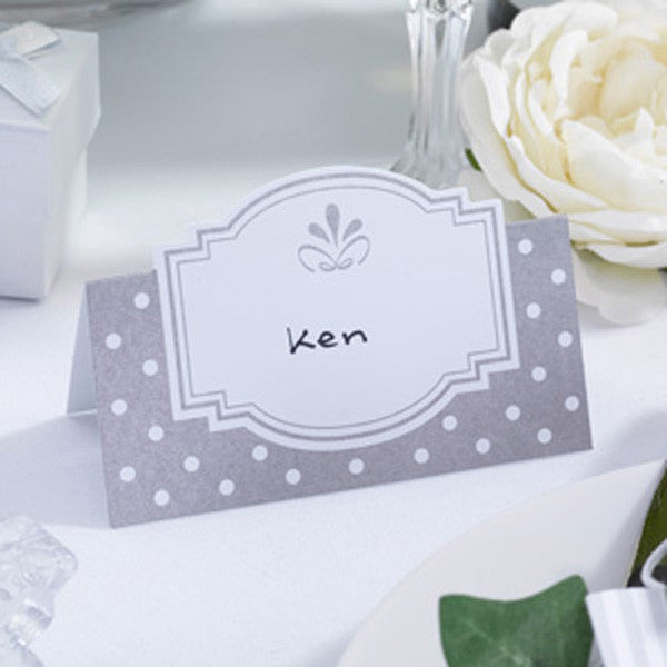 Place Cards White & Silver - Chic Boutique - Wedlock Shop