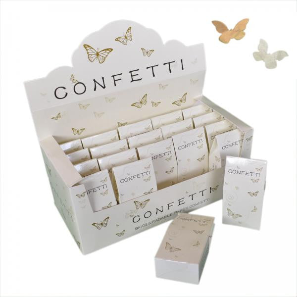 20 Packs of Butterfly Shaped Ivory & Gold Tissue Throwing Confetti - Wedlock Shop