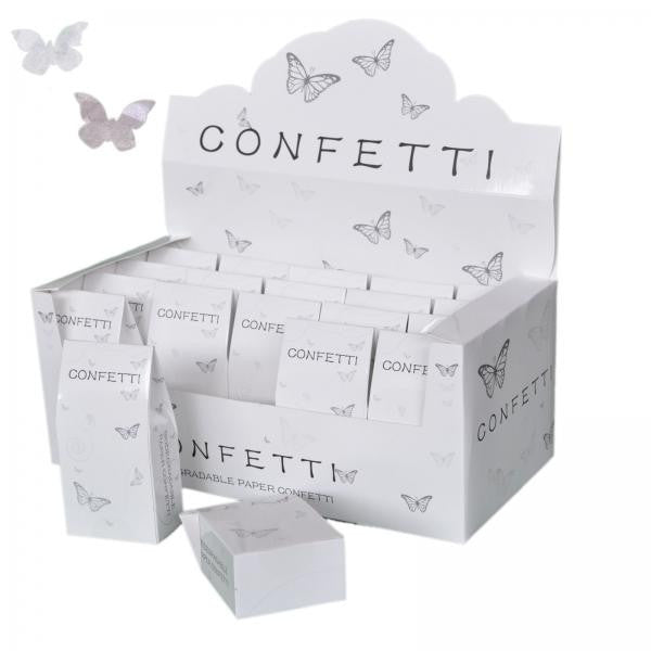 20 Packs of Butterfly Shaped White & Silver Tissue Throwing Confetti - Wedlock Shop