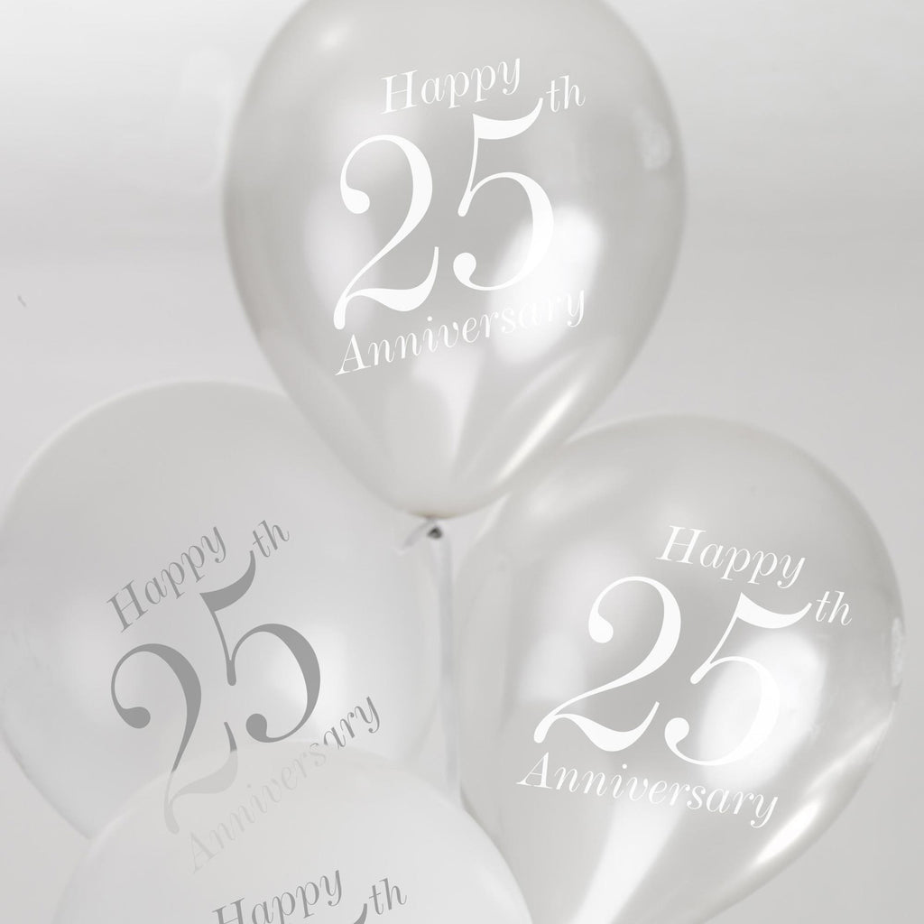 25th Anniversary Balloons White/Silver - Vintage Romance - Wedlock Shop - 2