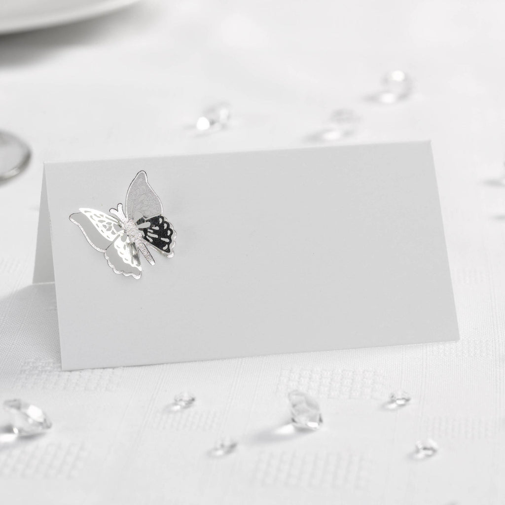 3D White/Silver Tent Place Cards - Elegant Butterfly - Wedlock Shop