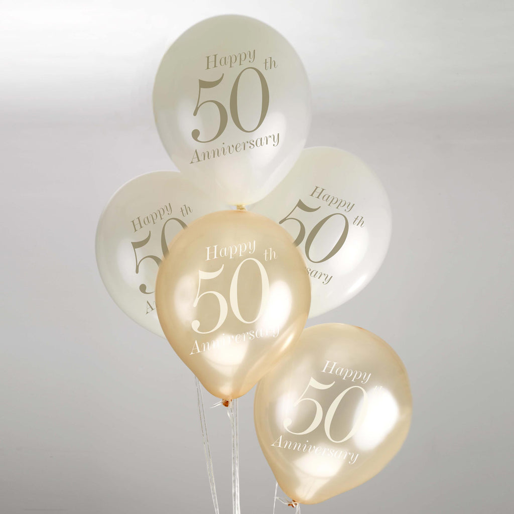 50th Anniversary Balloons Ivory/Gold - Vintage Romance - Wedlock Shop - 1