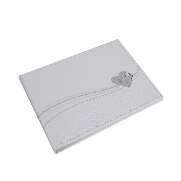Ivory Wedding Guest Book with Glitter & Crystal Heart - Wedlock Shop