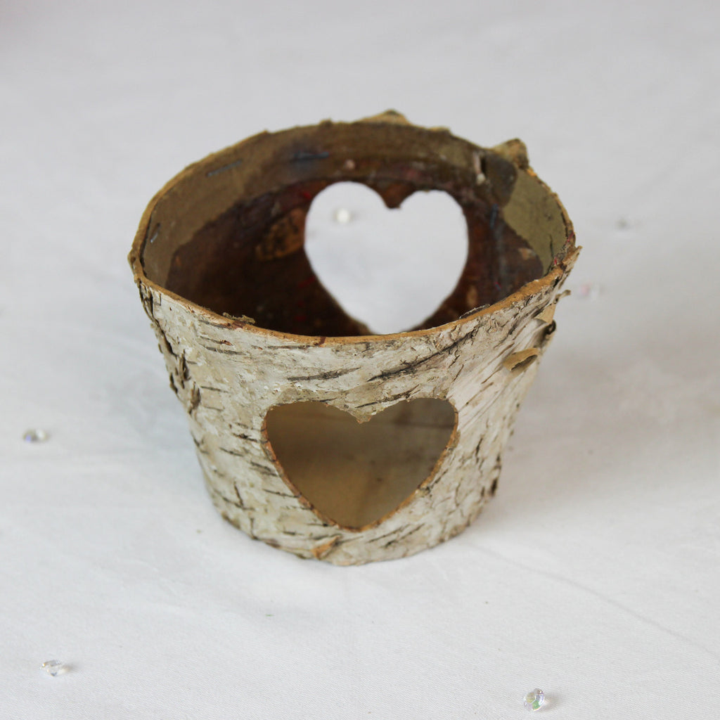 Birch Pot/Votive with Heart Cut Out Design - Wedlock Shop - 3