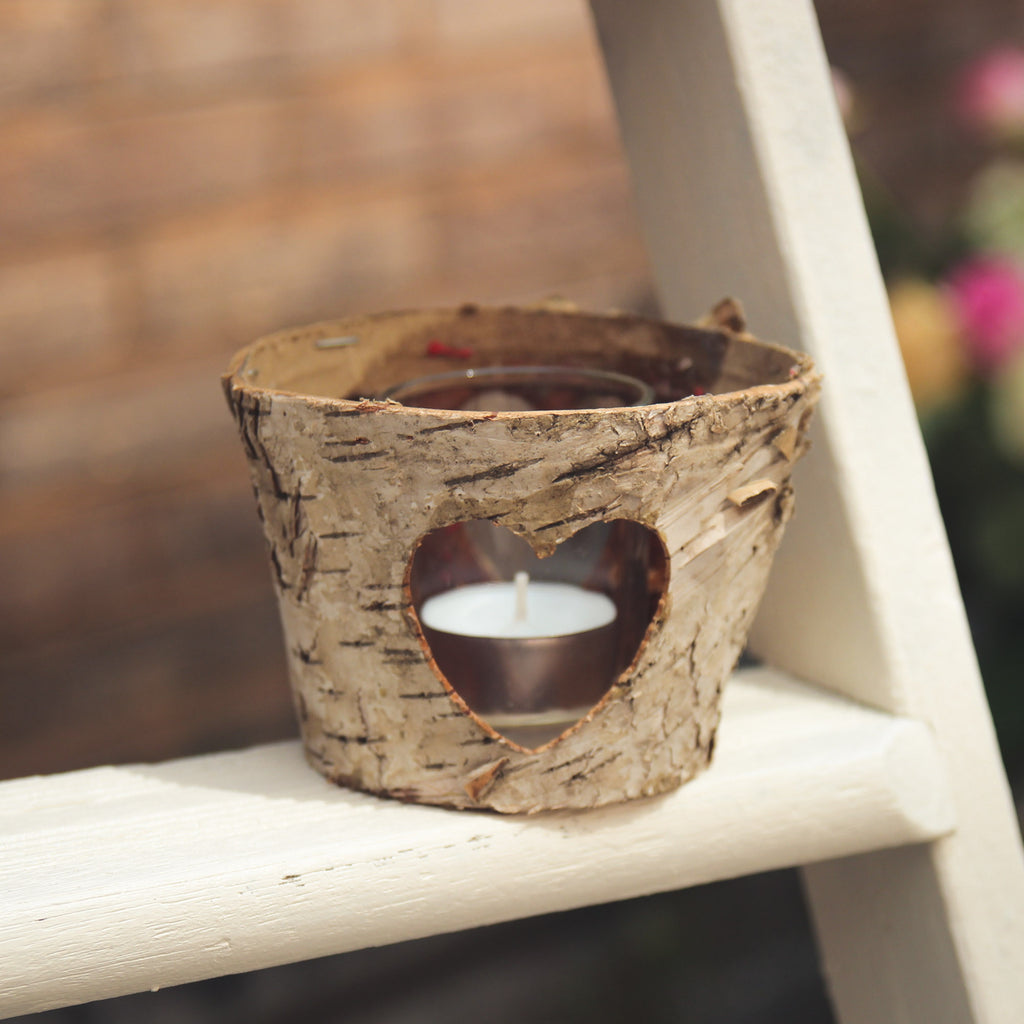 Birch Pot/Votive with Heart Cut Out Design - Wedlock Shop - 1