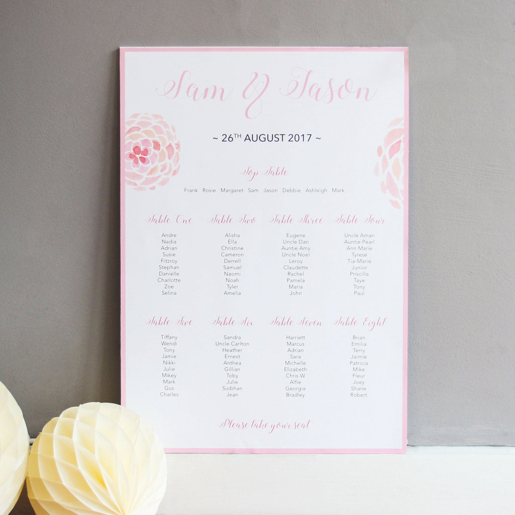 Blush Pink Wedding Table Seating Plan - Wedlock Shop - 1