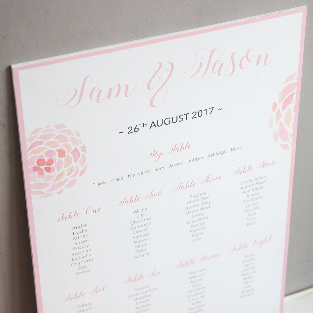 Blush Pink Wedding Table Seating Plan - Wedlock Shop - 2