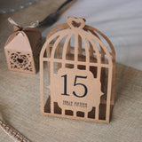 Bird Cage Table Numbers - Brown Kraft - Wedlock Shop