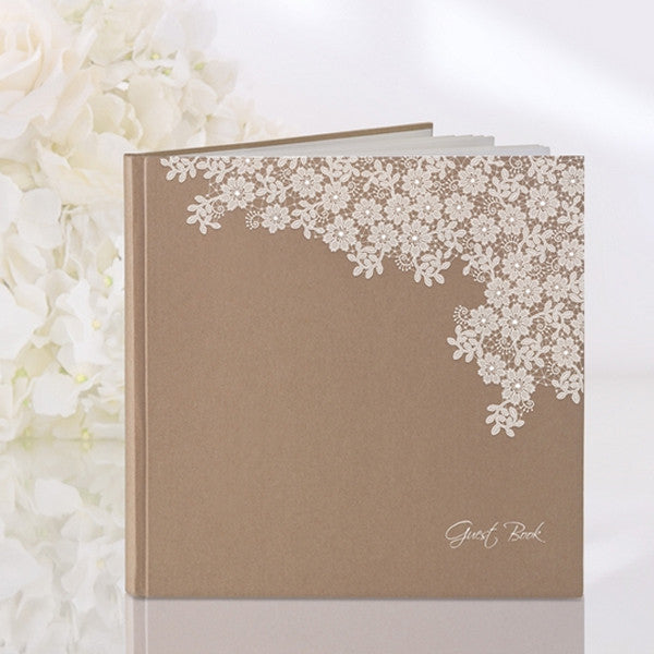 Brown Kraft Paper Style Guestbook with Floral Design - Wedlock Shop