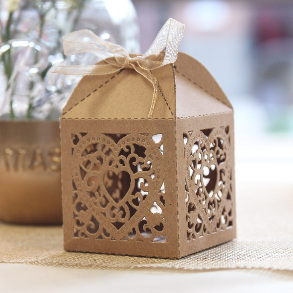Double Heart Favour Box - Brown Kraft - Wedlock Shop - 1