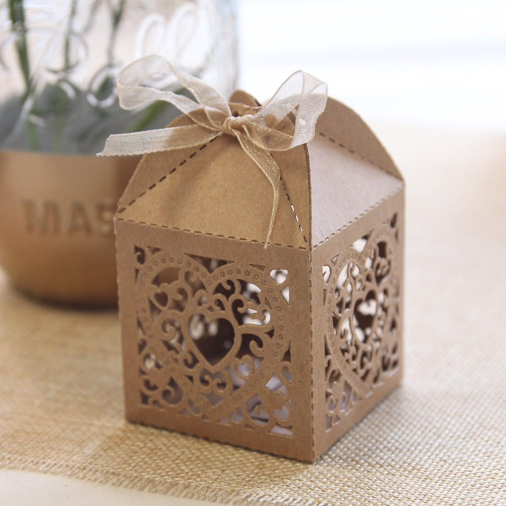 Double Heart Favour Box - Brown Kraft - Wedlock Shop - 2