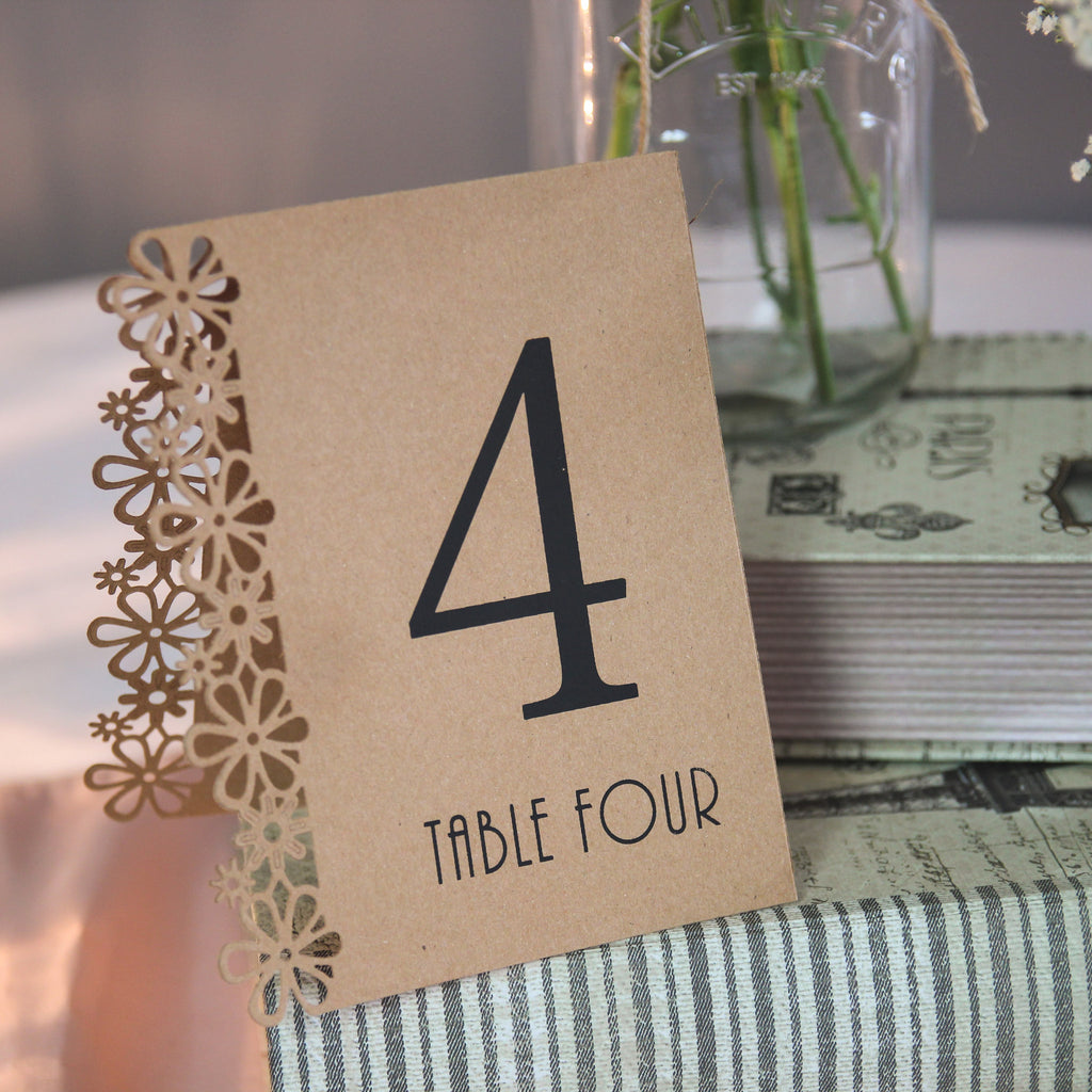 Laser Cut Flower Table Numbers - Brown Kraft - Wedlock Shop