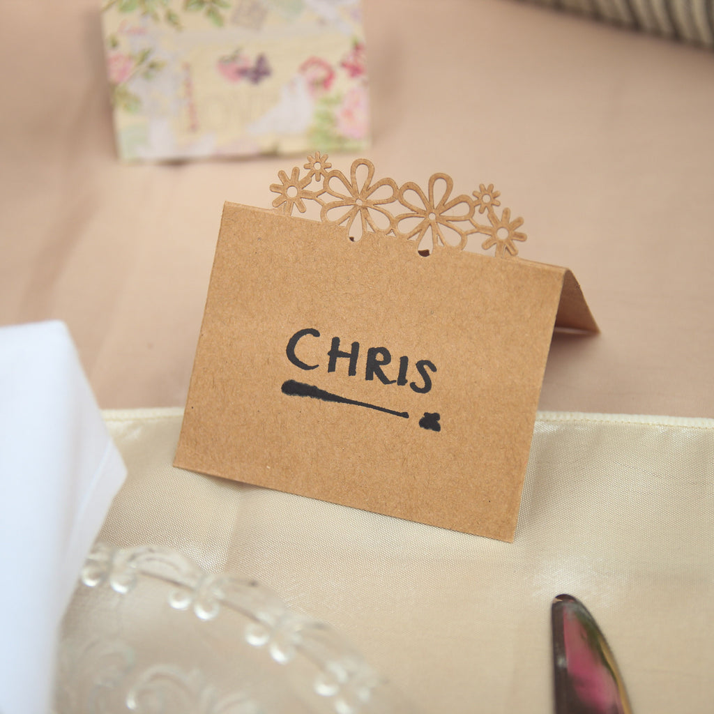 Laser Cut Flower Place Cards - Brown Kraft - Wedlock Shop