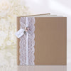 Brown Paper Kraft Style Guest Book with Lace & Decorations - Wedlock Shop