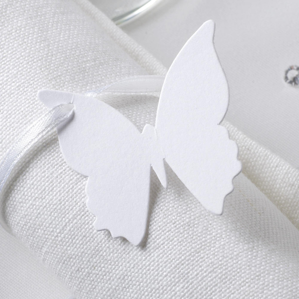 White Butterfly Luggage Tags - Elegant Butterfly - Wedlock Shop