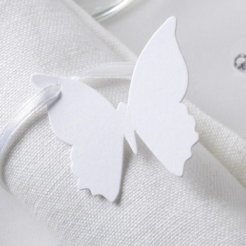 Plain Luggage Tags Ivory/Gold - Elegant Butterfly