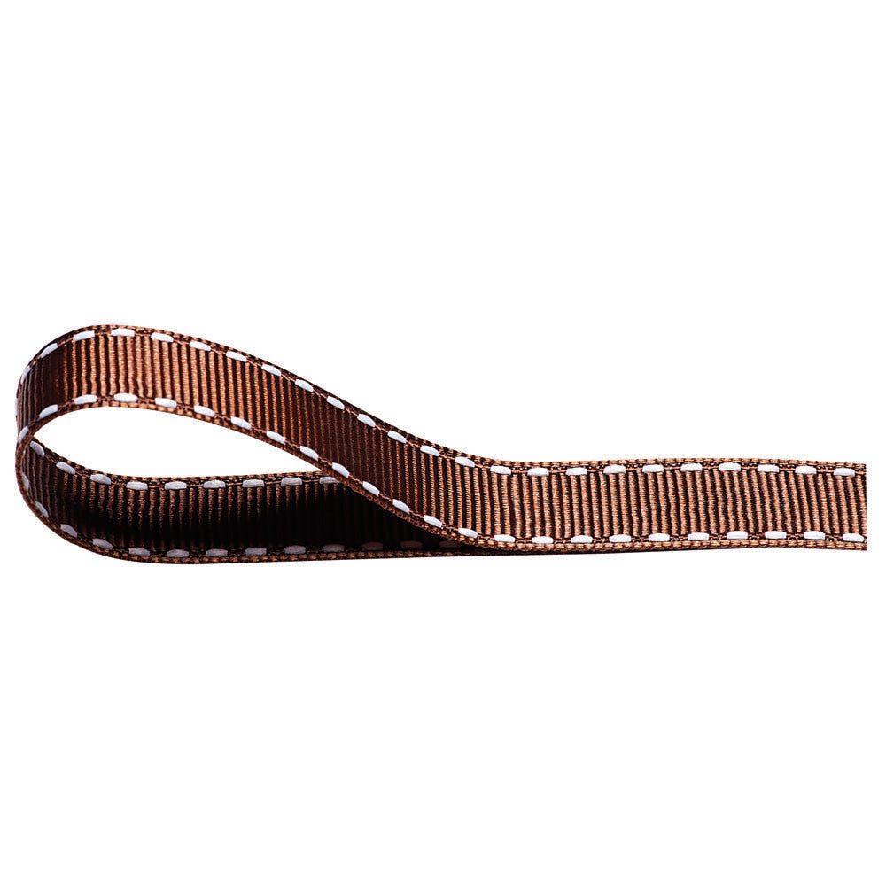 Stitched Grosgrain Ribbon - Brown - Wedlock Shop
