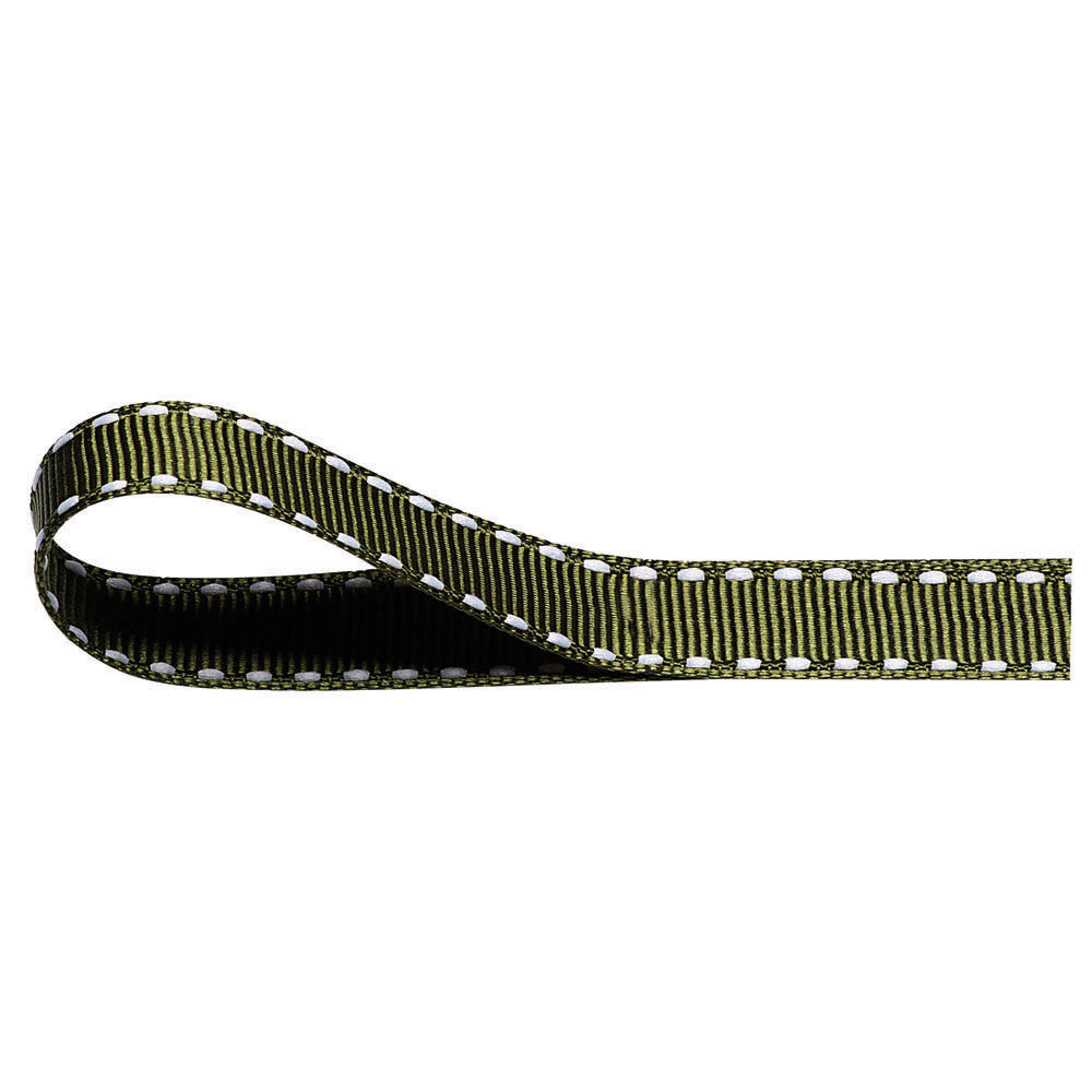 Stitched Grosgrain Ribbon - Moss Green - Wedlock Shop