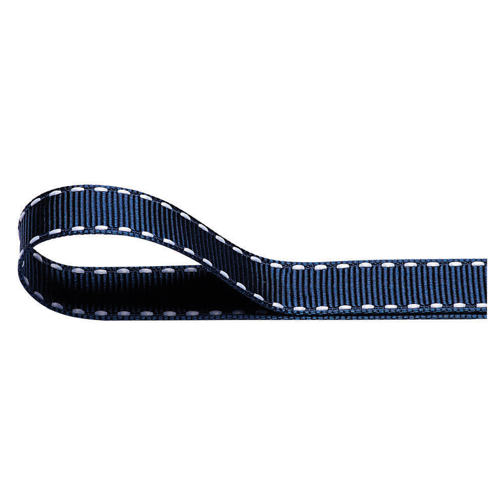 Stitched Grosgrain Ribbon - Navy Blue - Wedlock Shop