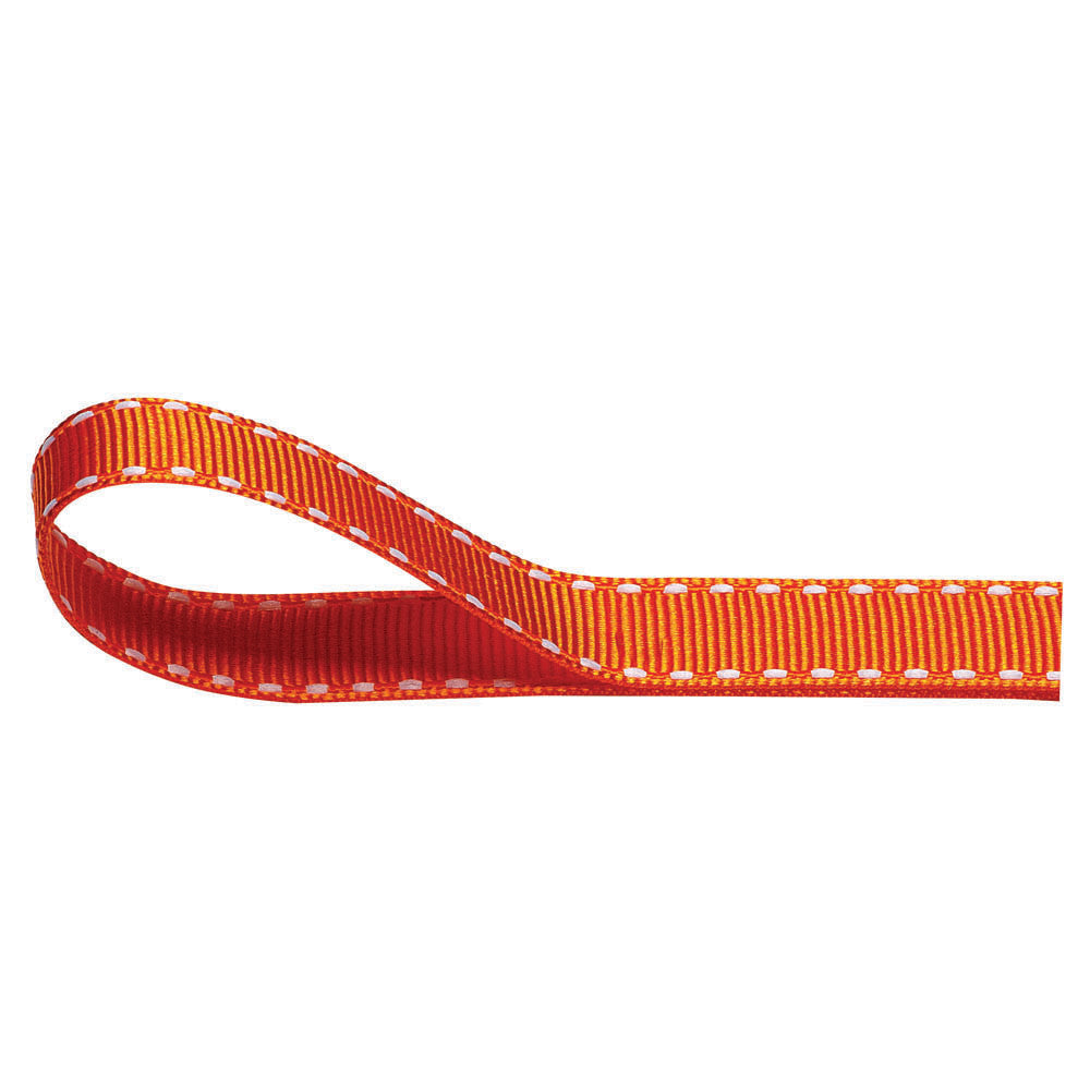 Stitched Grosgrain Ribbon - Orange - Wedlock Shop