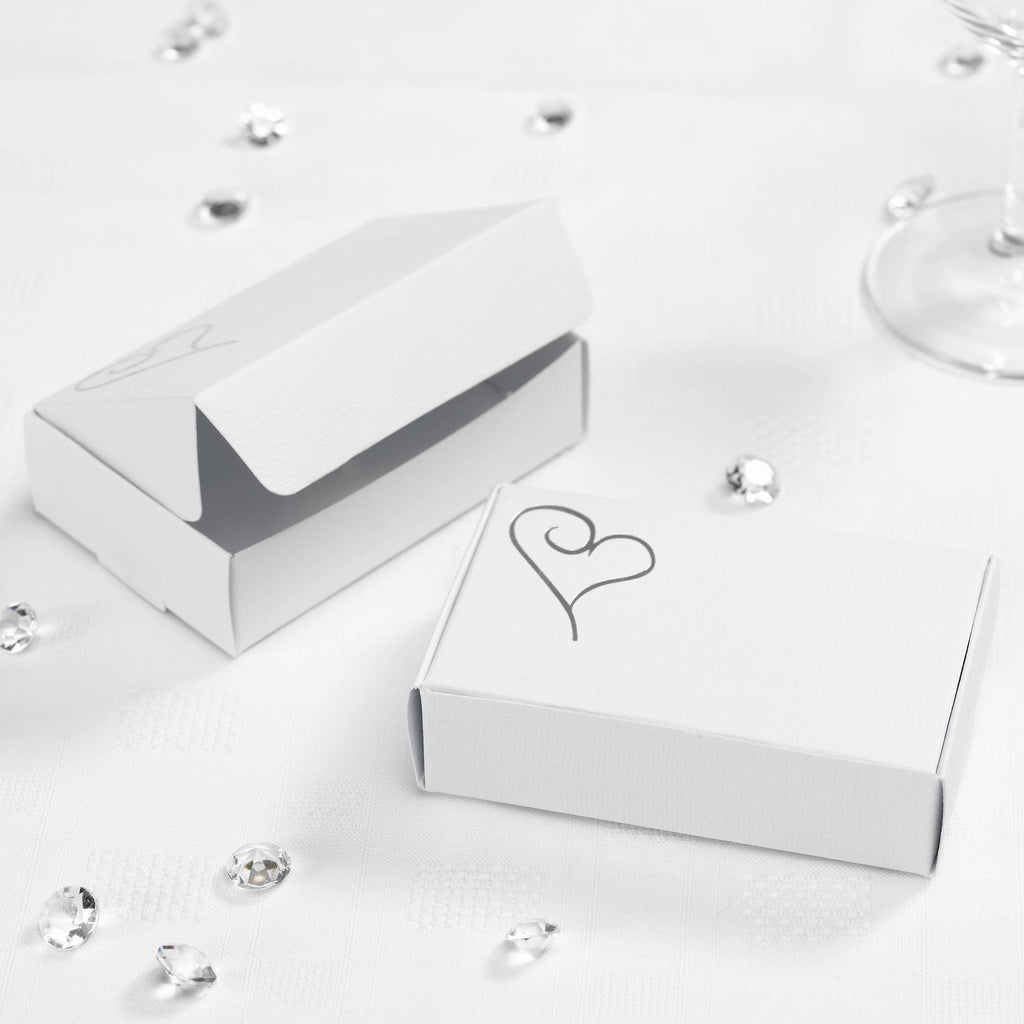 Cake Boxes White/Silver - Contemporary Heart - Wedlock Shop