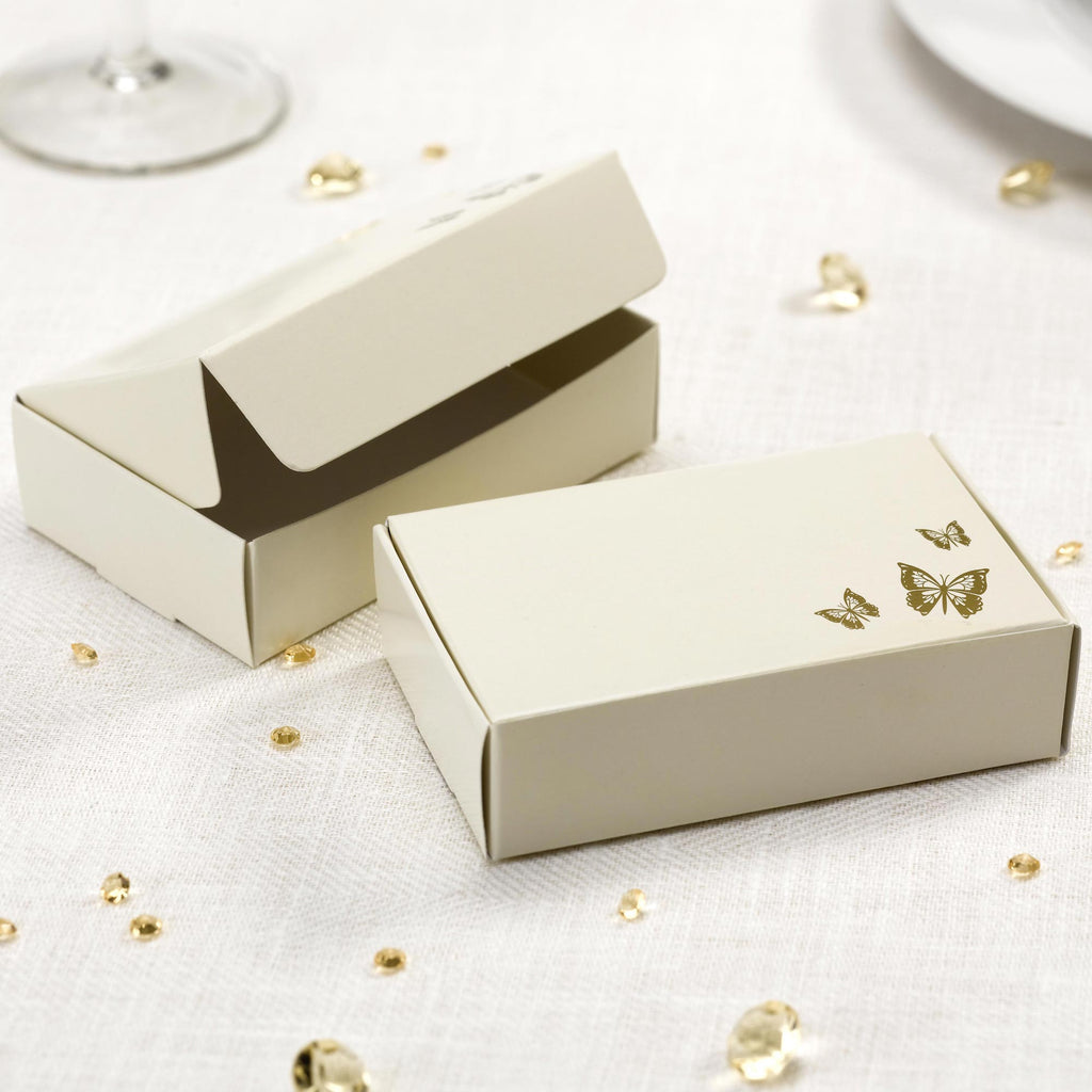 Cake Boxes Ivory/Gold - Elegant Butterfly - Wedlock Shop