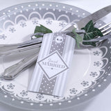 Luggage Tags White & Silver - Chic Boutique - Wedlock Shop