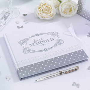 Just Married Guest Book White & Silver - Chic Boutique - Wedlock Shop