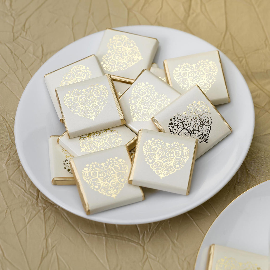 Foil Wrapped Chocolate Squares Ivory/Gold - Vintage Romance - Wedlock Shop