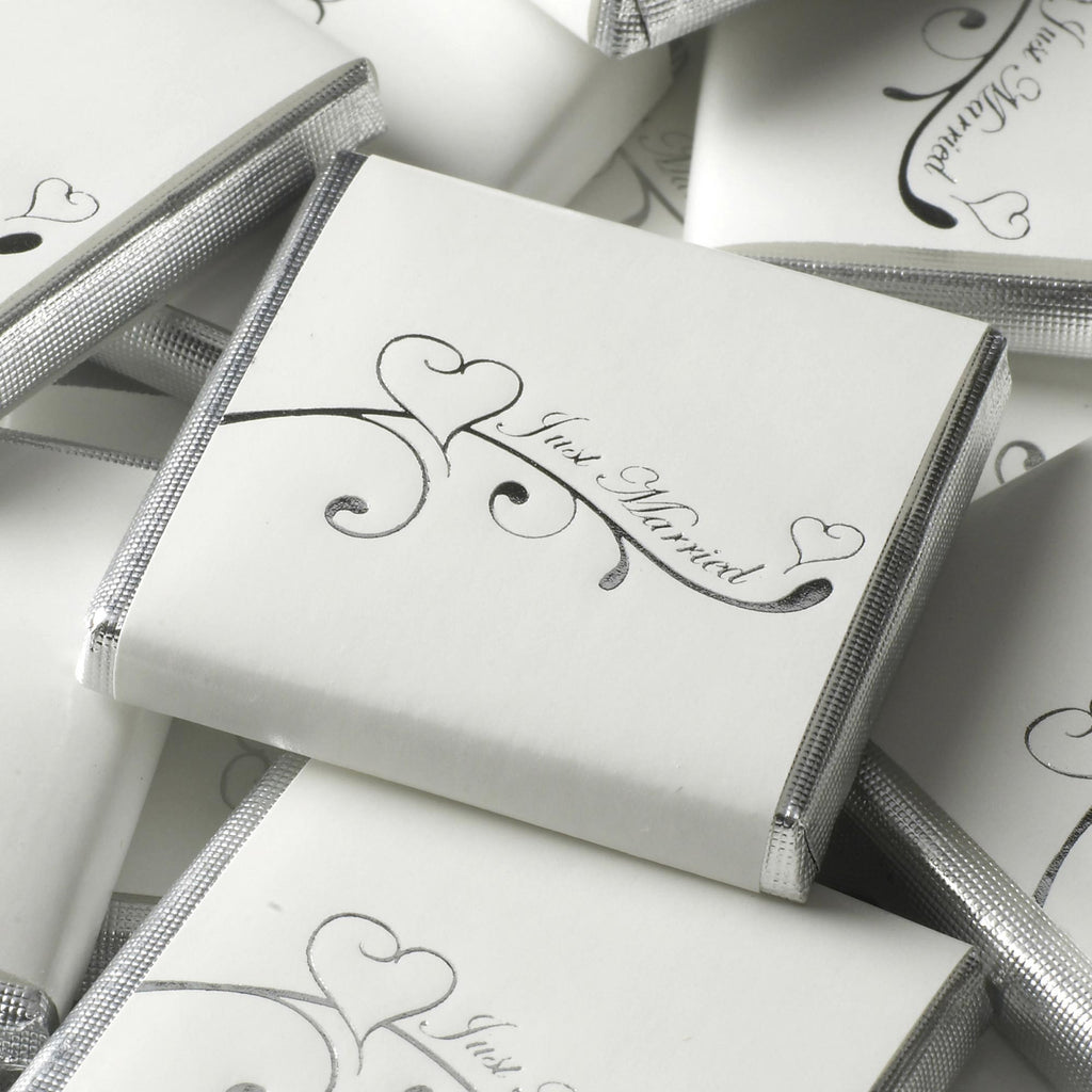 Just Married Chocolate Squares White/Silver - Contemporary Heart - Wedlock Shop
