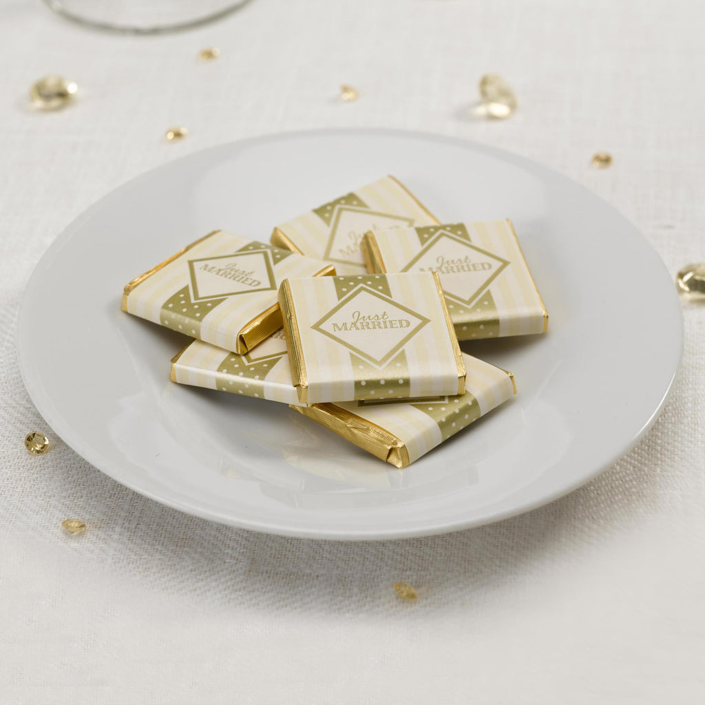 Foil Wrapped Just Married Chocolates Ivory & Gold - Chic Boutique - Wedlock Shop