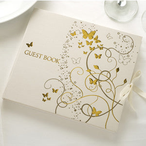 Guest Book Ivory/Gold - Elegant Butterfly - Wedlock Shop