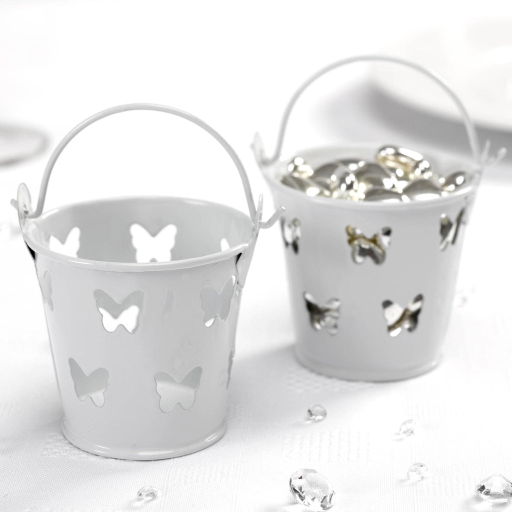 White Favour Pails - Elegant Butterfly - Wedlock Shop