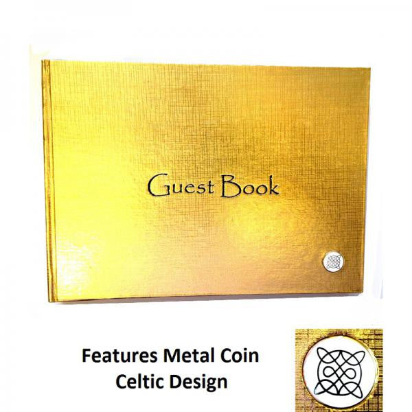 Gold Guest Book - Celtic Coin - Wedlock Shop