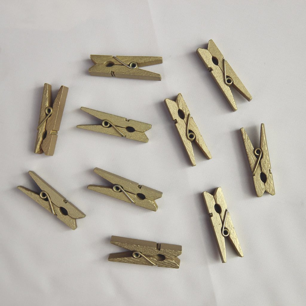 Mini Wooden Pegs - Gold - Wedlock Shop - 1