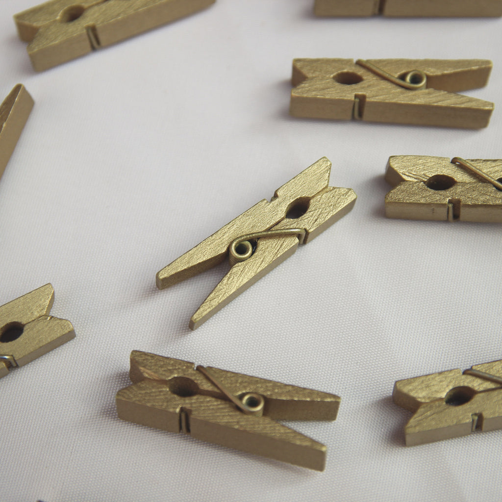 Mini Wooden Pegs - Gold - Wedlock Shop - 2