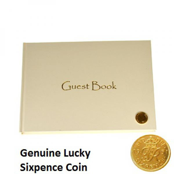 Ivory Guest Book with Golden Lucky Sixpence - Wedlock Shop
