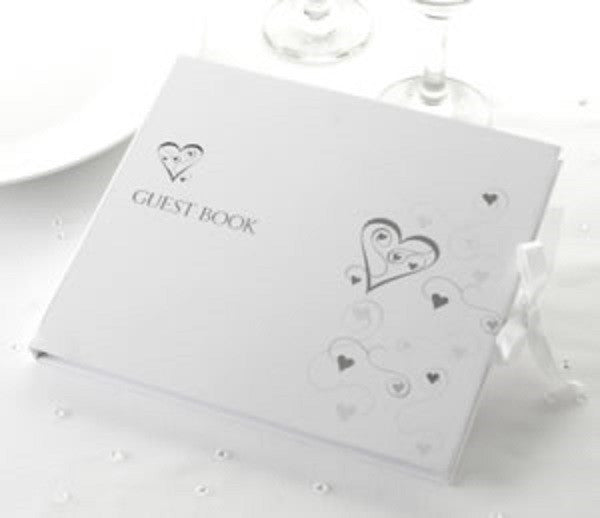 Contemporary Heart Guest Book White & Silver - Wedlock Shop