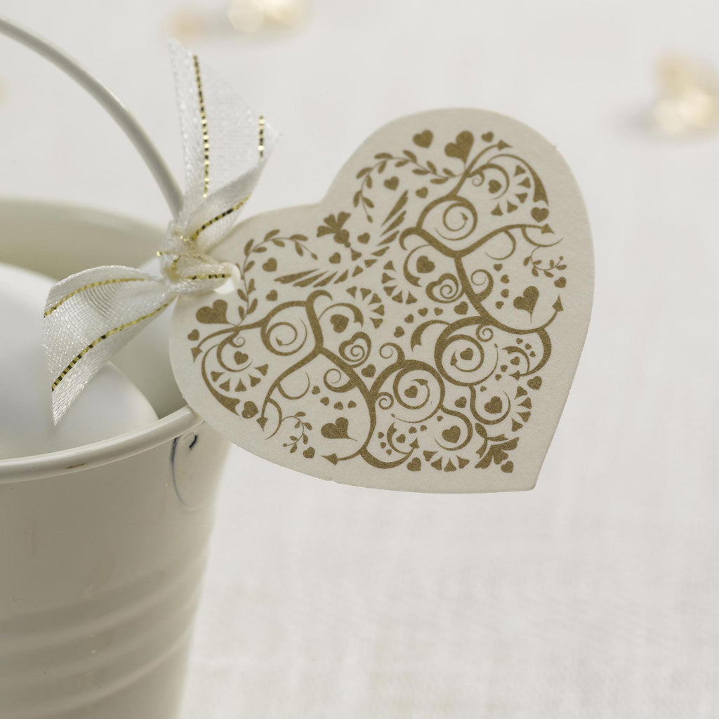 Heart Tags Ivory/Gold - Vintage Romance - Wedlock Shop