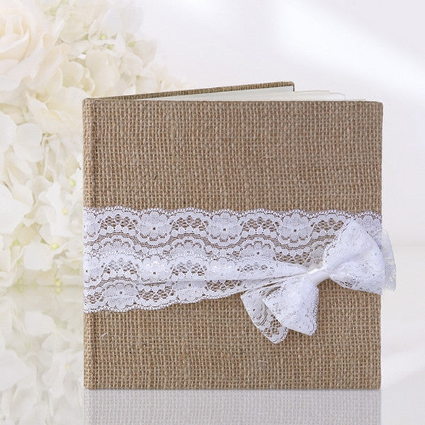Hessian Burlap Lace & Bow Guest Book - Wedlock Shop