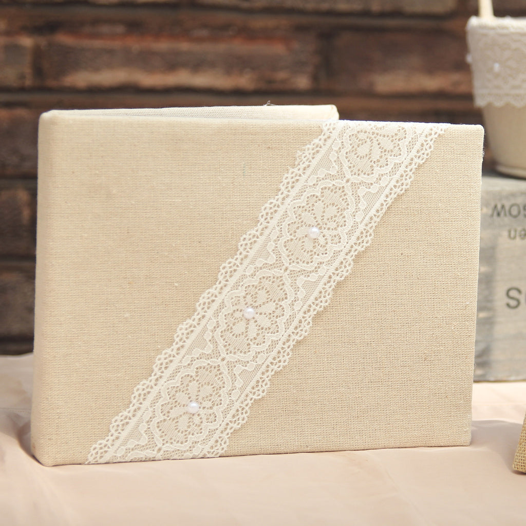 Hessian Guest Book with Lace Trim - Wedlock Shop