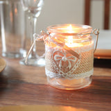 Hessian Lace Candle Holder with Handle - Wedlock Shop - 1