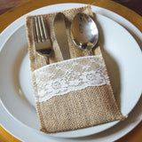 Hessian & Lace Cutlery Holder Pouch (Pack of 10) - Wedlock Shop - 1