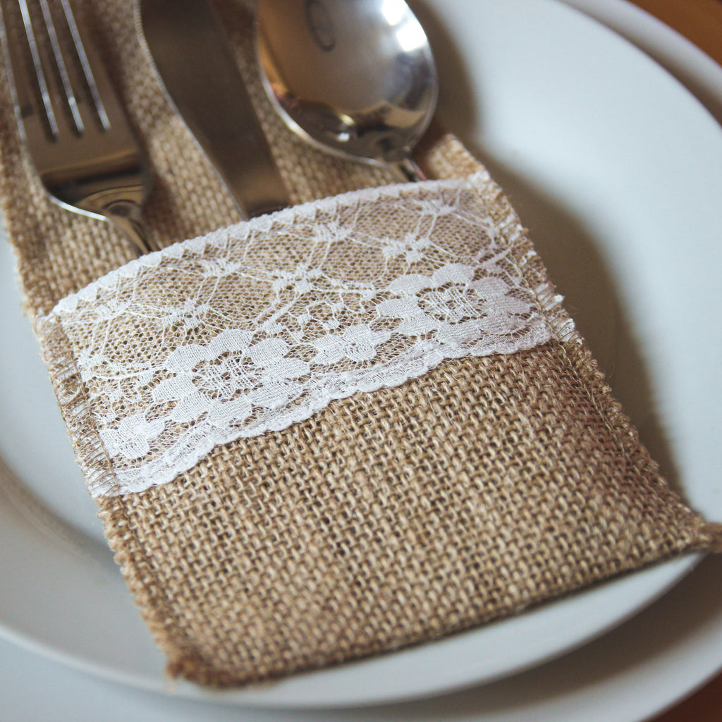 Hessian & Lace Cutlery Holder Pouch (Pack of 10) - Wedlock Shop - 2