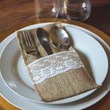 Hessian & Lace Cutlery Holder Pouch (Pack of 10) - Wedlock Shop - 3
